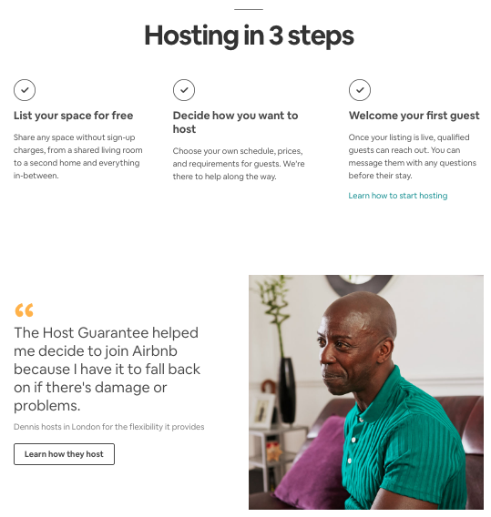 Example of landing page credibility from Airbnb