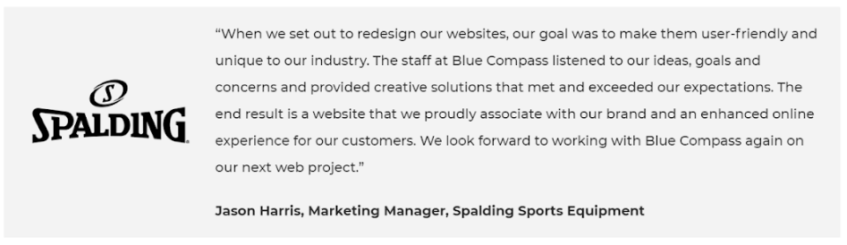 Example of a good testimonial for landing page credibility
